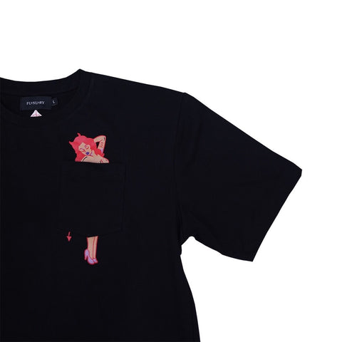 """Lucy"" Black Pocket Tee"