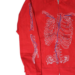 """Skinny Bone"" Red Denim Jacket"