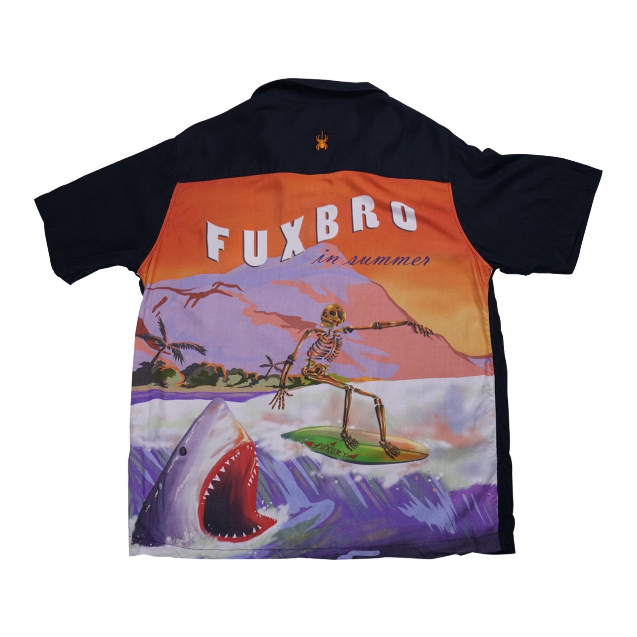 """PLAY SHARK"" BLACK HAWAIIAN SHIRT"