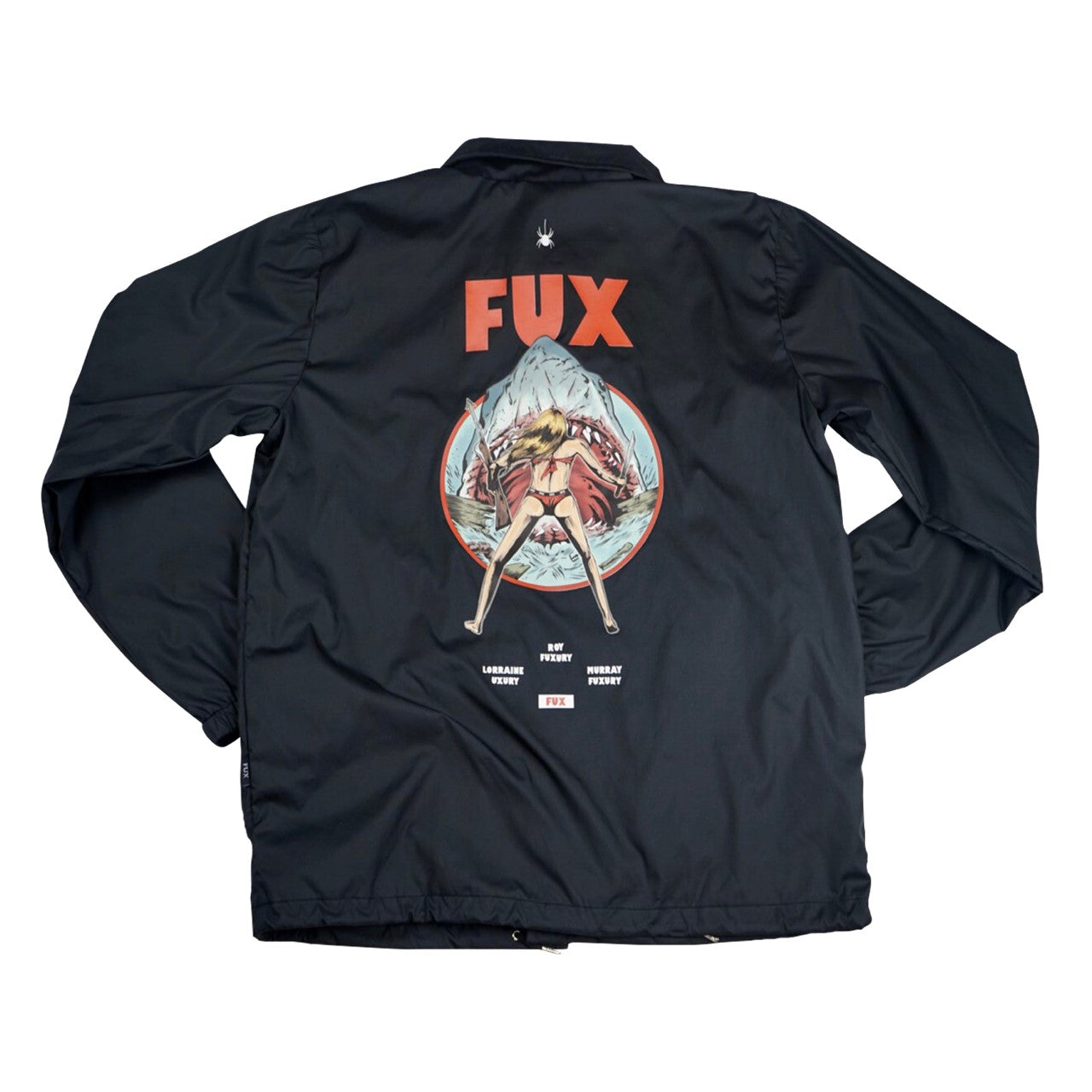 """PLAY SHARK"" BLACK COACH JACKET"