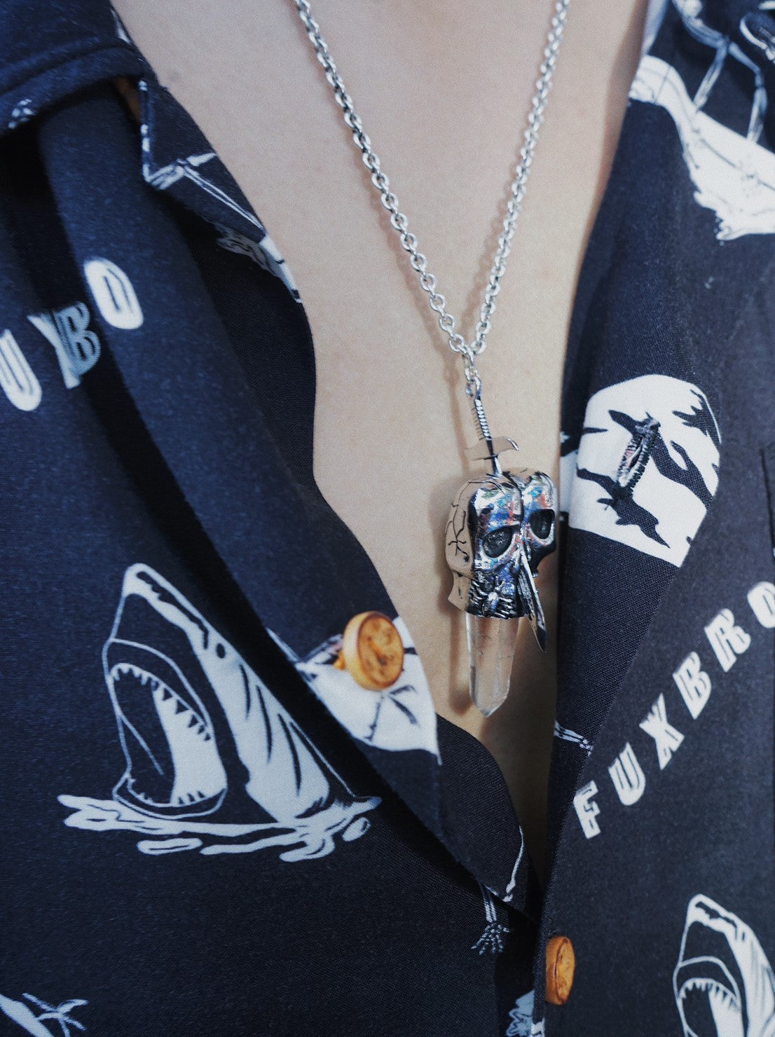 """BONE STONE"" Oversize 92.5 SILVER NECKLACE"