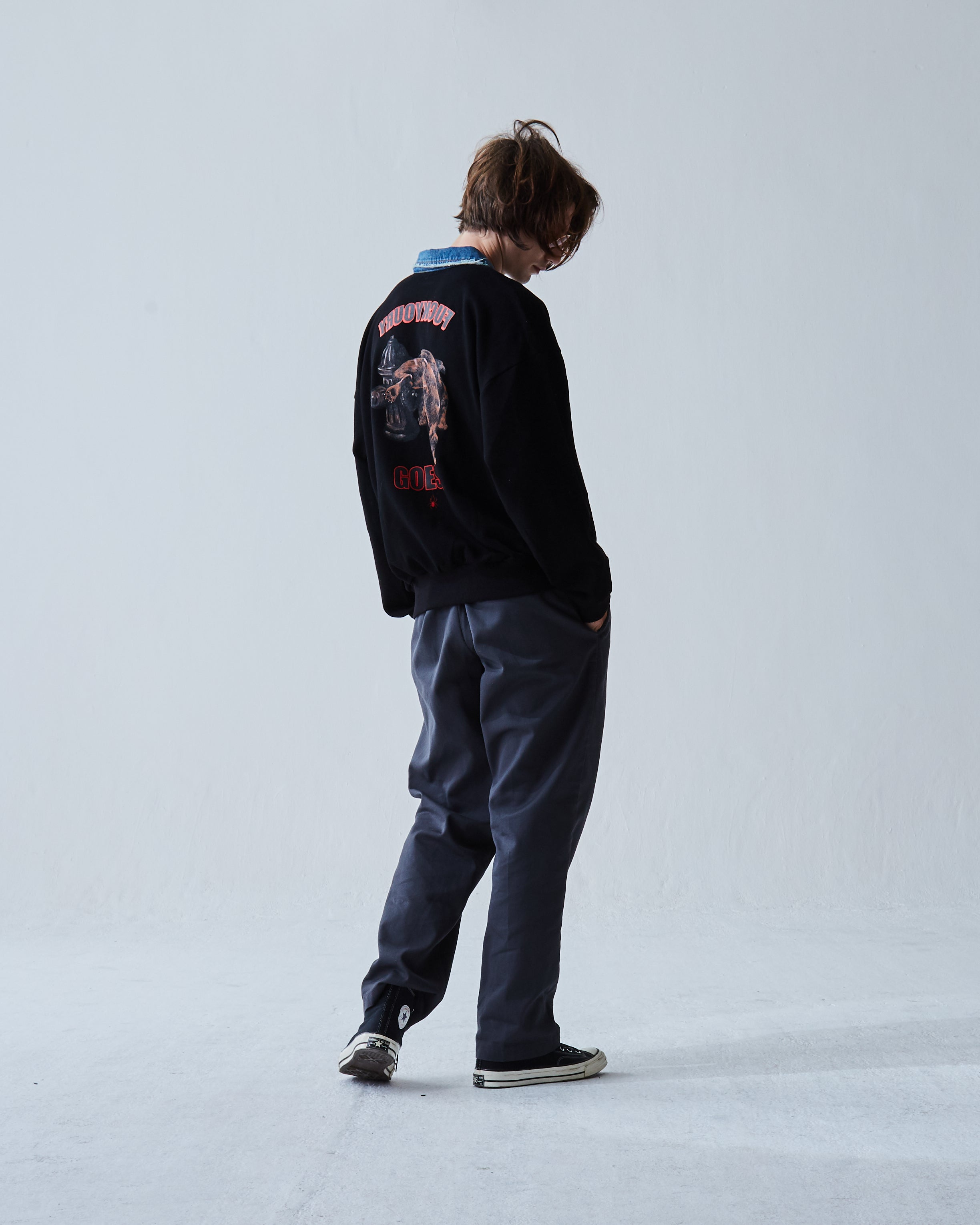 """BULLDOG""  OVERSIZE POLO BLACK SWEATER"