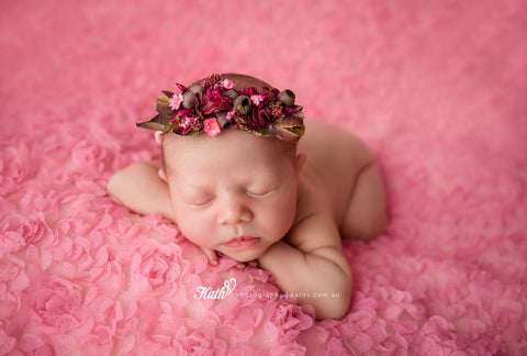 """Gumnut Baby with Rose"" newborn photography prop tieback"