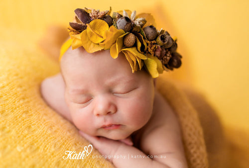 My marigold for kath v australian newborn photography prop tieback