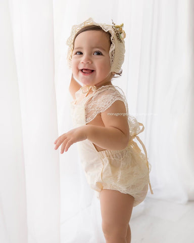 """Miss Mouse""  Vintage Newborn Lace piece,  Bonnet & Tieback set"