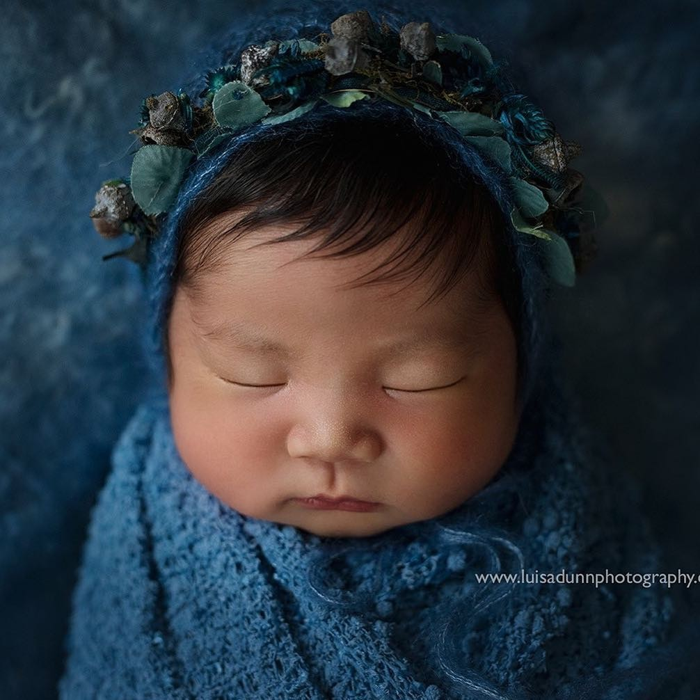 """Navy Blossom""  tieback photography prop for newborns"