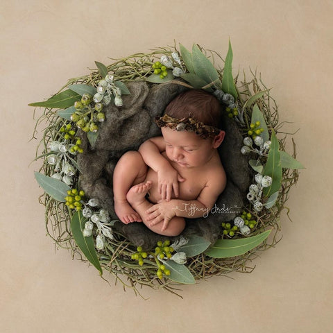 """Wildflower trio"" tieback baby photo prop"