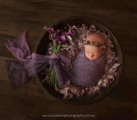 """My lavender girl"" flower tieback baby photo prop"
