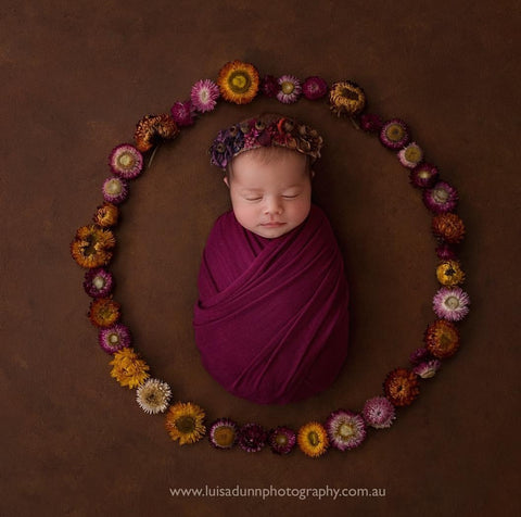 """Peaches"" newborn tieback photo prop"