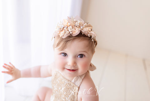 """Navy Rose""  Sitter Photography Prop romper"