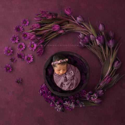 """Lavendar Layla"" tieback newborn photo prop"