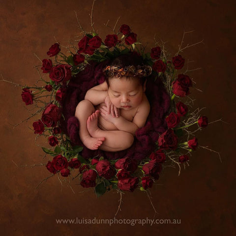 """Wildflower"" tieback baby photo prop"