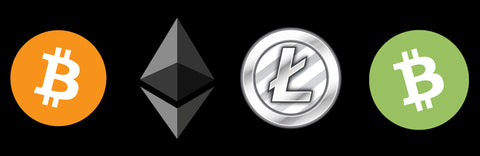 cryptocurrency logos bitcoin, ethereum, litecoin and bitcoin cash