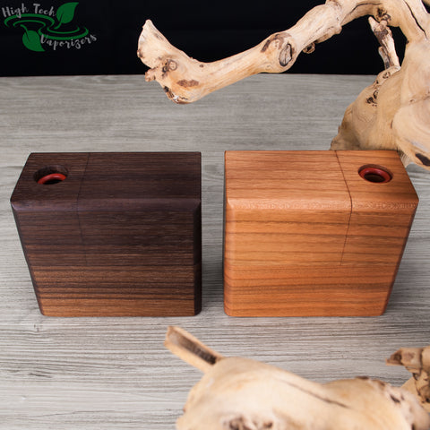 walnut and cherry wood hydrobrick maxx vaporizer self contained inside block