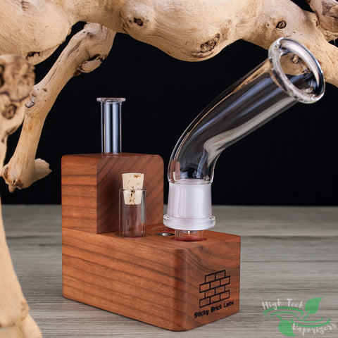 Cherry wood HydroBrick Maxx vaporizer by Sticky brick labs