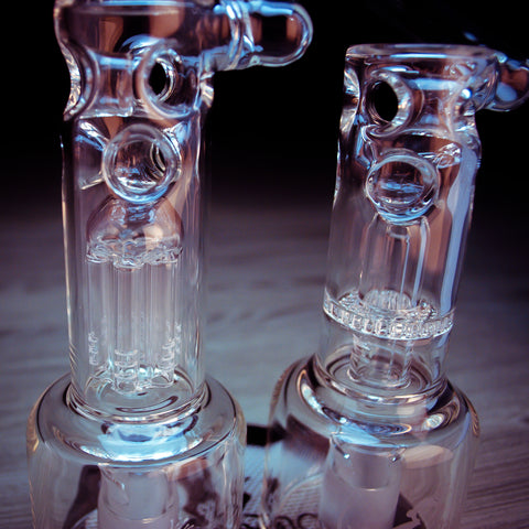 close up of swiss hydratube percolators by vapexhale