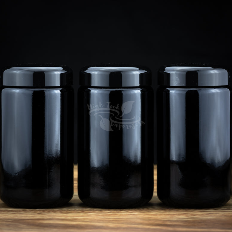 set of 3 miron violettglas jars
