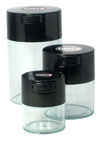 TightVac Set Of 3 black lid clear body