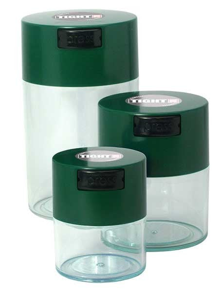TightVac Set Of 3 Green Lid Clear body