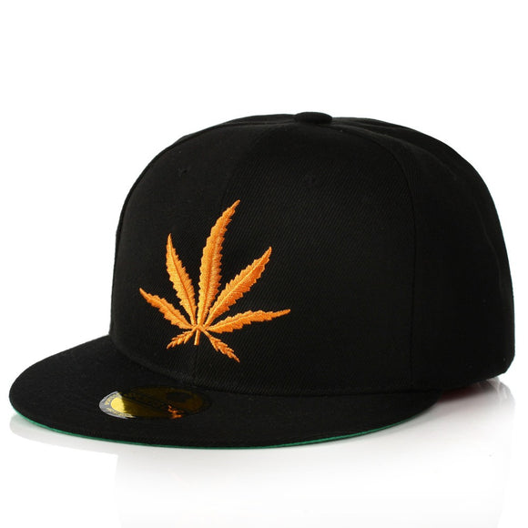 Stitched Weed-Leaf Snapback - HighAndFaded