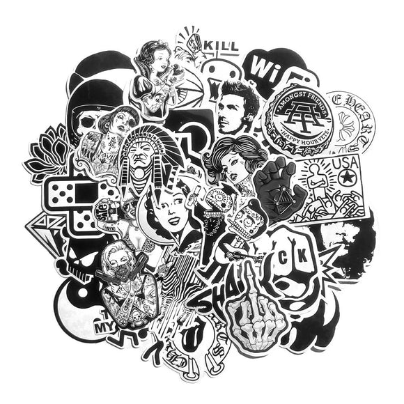 Black and White Stickers (60 Pcs) - HighAndFaded