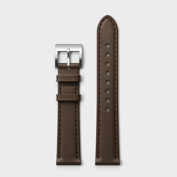 VERK – Silver / Mocha, Leather strap