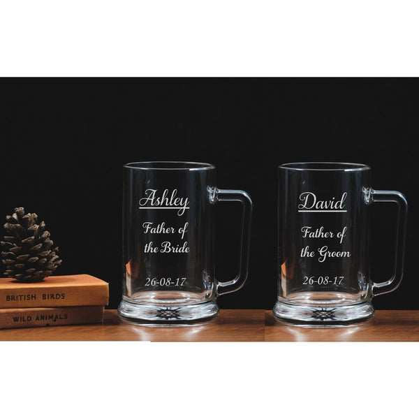 Personalised Engraved Father of Bride Groom Tankards - Glass - The Spotted Moon Company