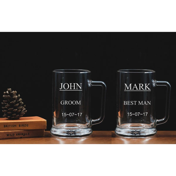 Two Personalised engraved tankards - Groom - Best Man - Wedding - The Spotted Moon Company