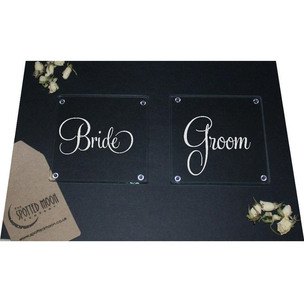 Bride & Groom Engraved Glass Coasters - The Spotted Moon Company