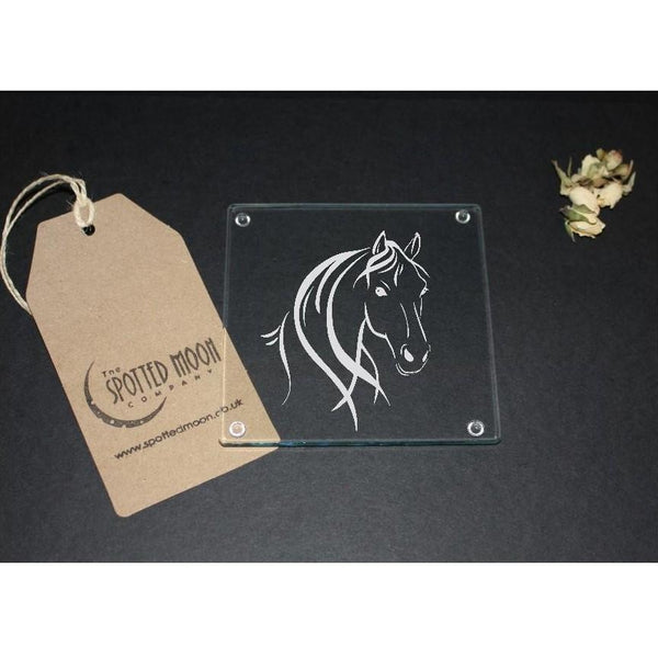 A gorgeous glass Coaster engraved with a horse-head - The Spotted Moon Company