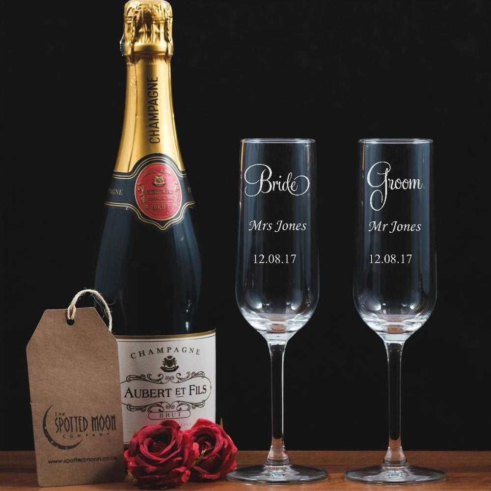 Two personalised engraved glass Champagne Flutes - Bride & Groom - The Spotted Moon Company