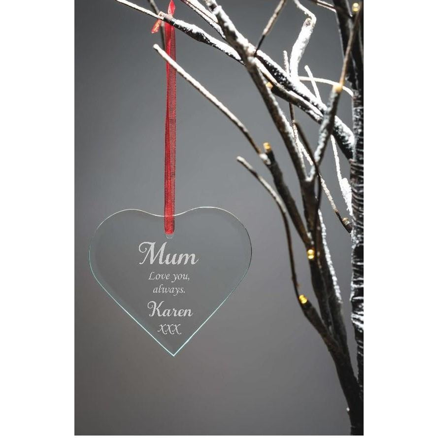 Personalised engraved glass hanging heart - The Spotted Moon Company