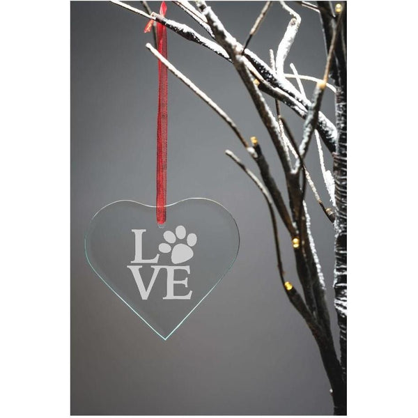 Engraved Glass Hanging Heart - LOVE - The Spotted Moon Company