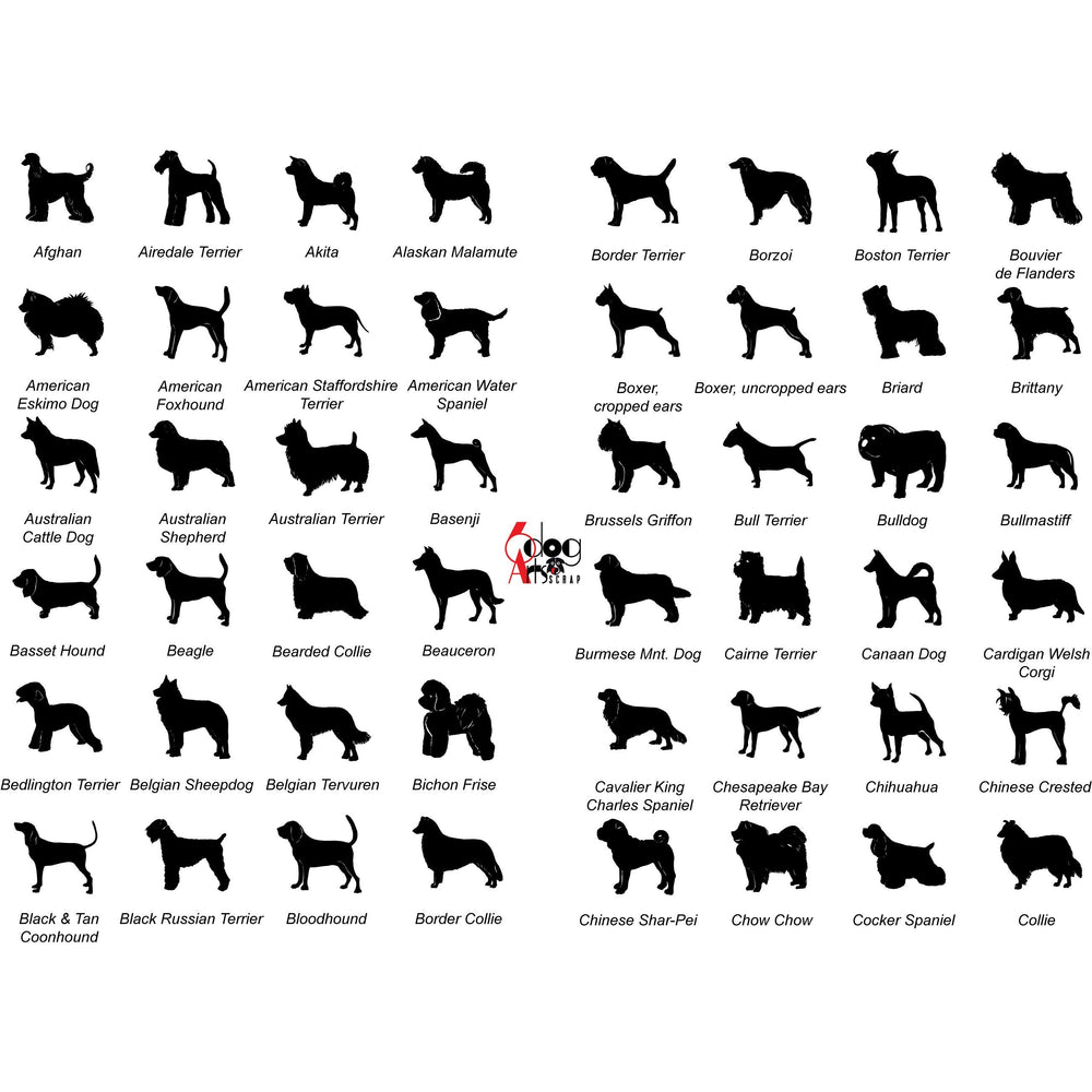 Dog breed pictures for engraved glasses