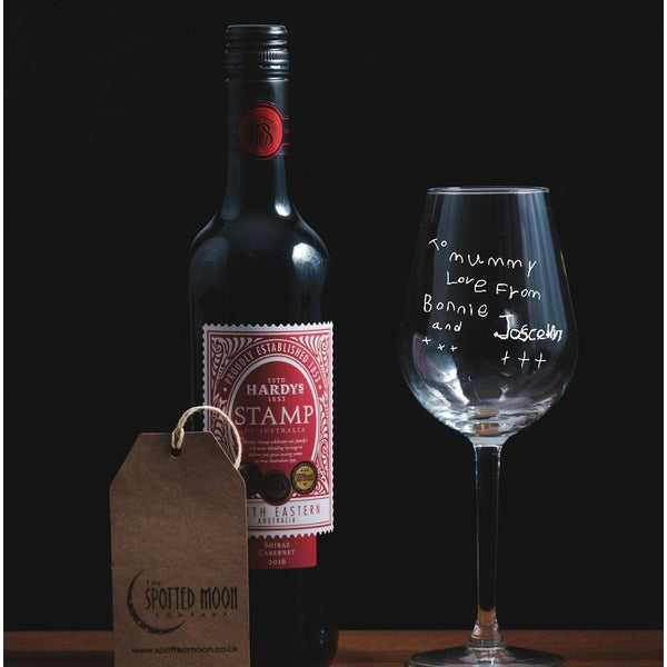 Engraved Wine Glass - personalised with handwriting - The Spotted Moon Company