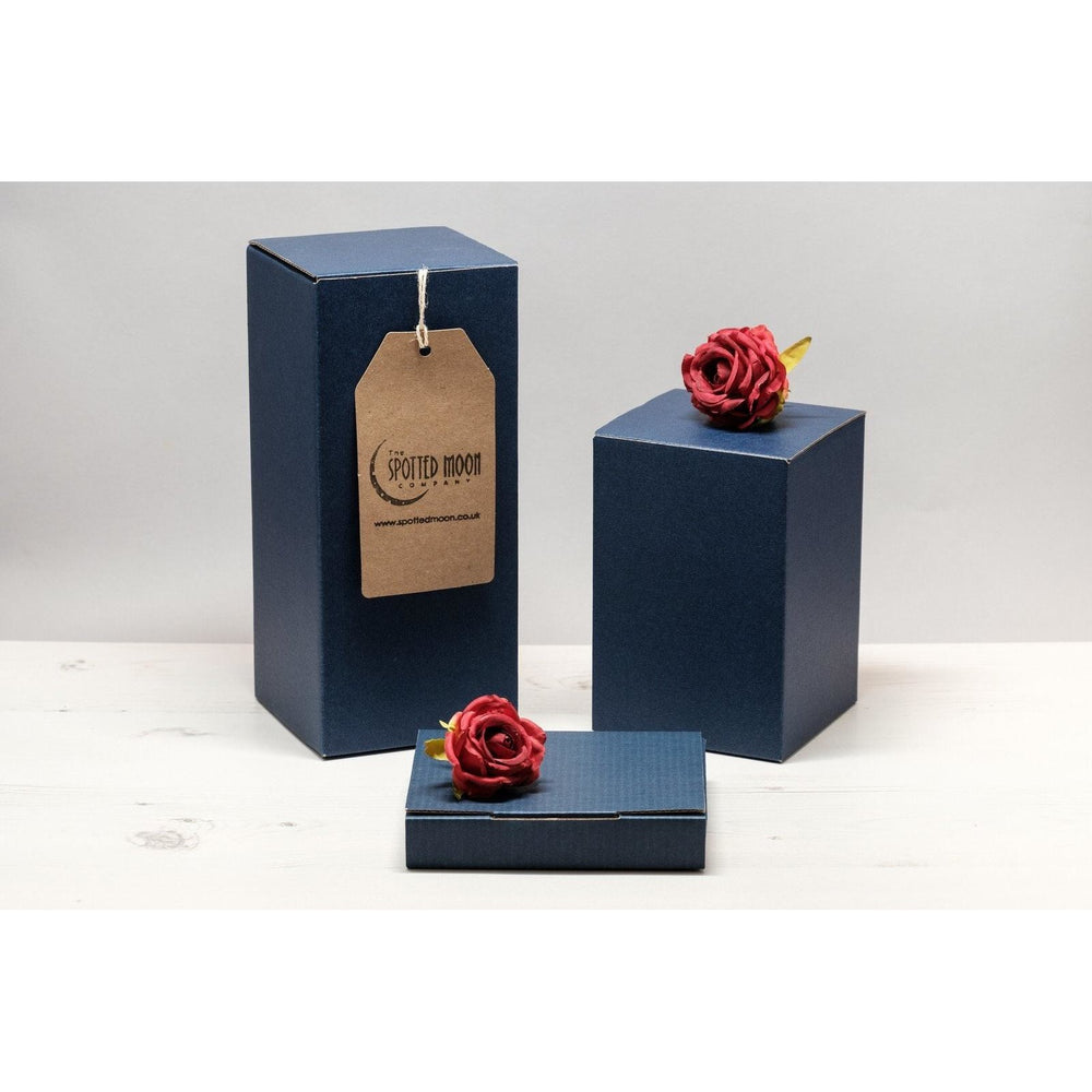 Blue gift box in a range of sizes - perfect for your engraved glassware.
