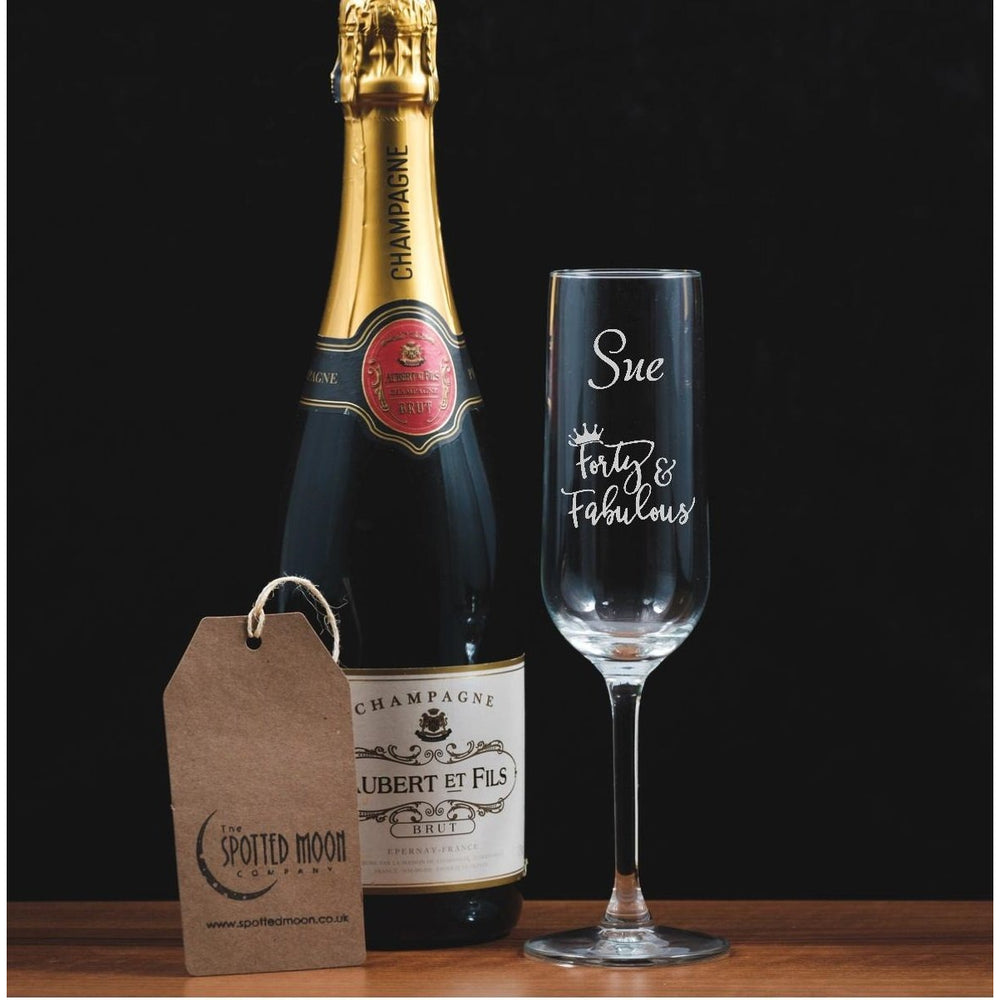 Personalised Engraved Champagne Flute - 40 and Fabulous - The Spotted Moon Company