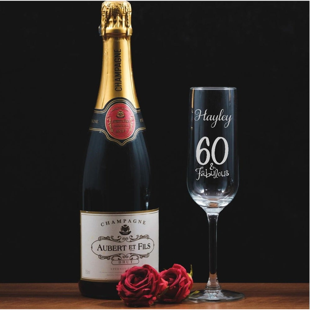 Personalised Engraved Champagne Flute - 60 and fabulous - The Spotted Moon Company