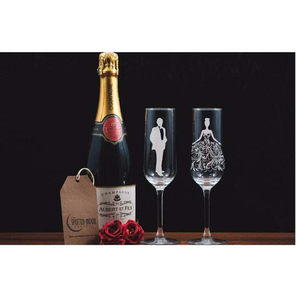 Two Beautiful Champagne Flutes - Bride & Groom - The Spotted Moon Company