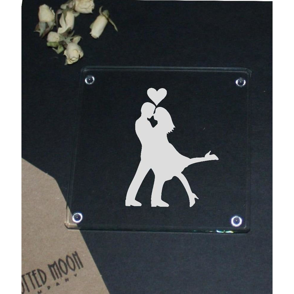 Engraved Glass Coaster - Couple in Love - The Spotted Moon Company
