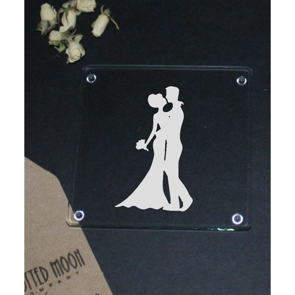 Engraved glass coaster - bride and groom - The Spotted Moon Company