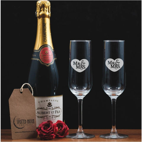 Two Mr & Mrs Engraved Glass Champagne Flutes