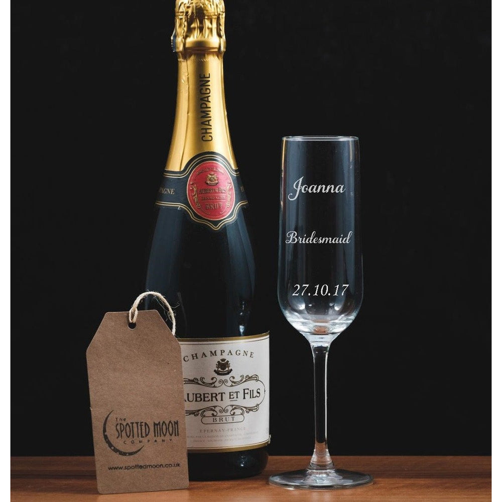 Personalised Bridesmaid Engraved Glass Champagne Flute - The Spotted Moon Company