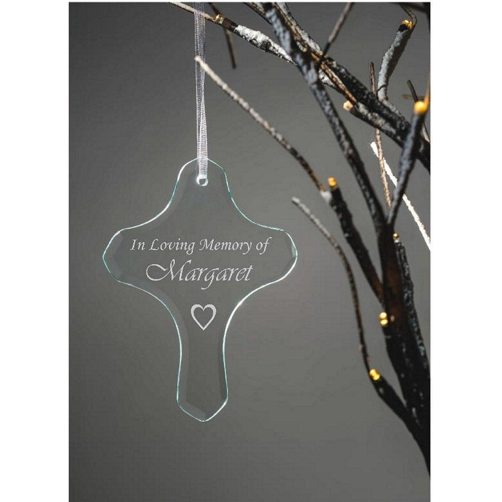 Personalised Glass Hanging Cross Ornament - In Loving Memory of... - The Spotted Moon Company