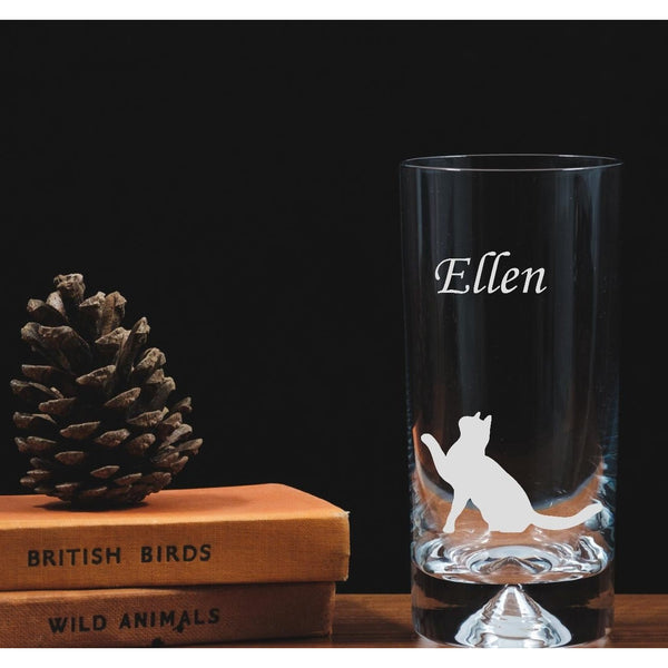 Engraved glass highball - sitting cat - the spotted moon company