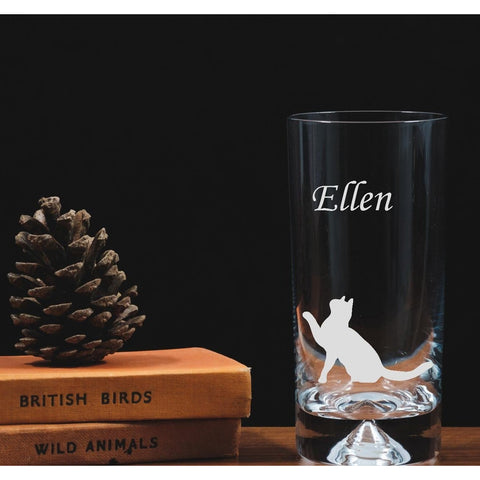 Engraved Glass Highball - Sitting Cat