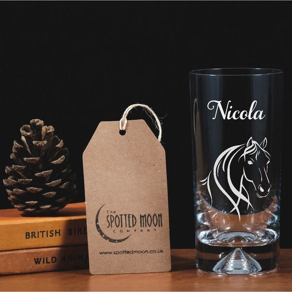Personalised Engraved Glass Highball - Horse - The Spotted Moon Company