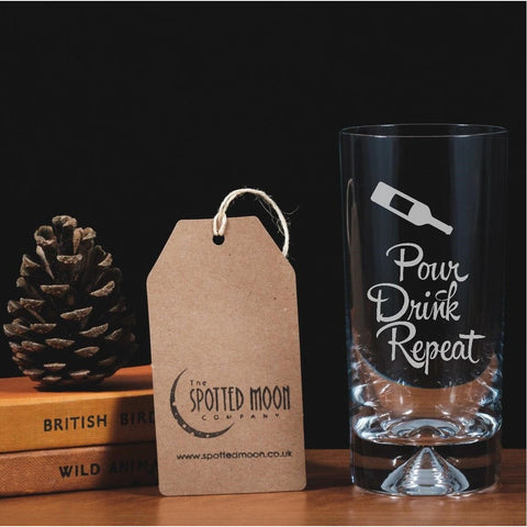Engraved Glass Highball - Pour, Drink, Repeat