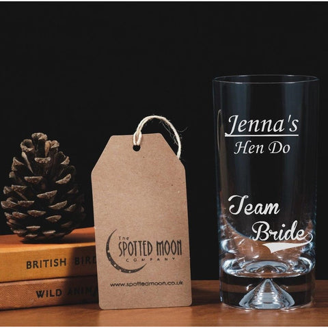 Personalised Engraved Glass Highball - Hen Do, Team Bride
