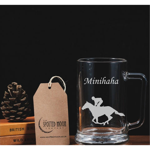 Personalised Engraved One Pint Glass Tankard - Racehorse